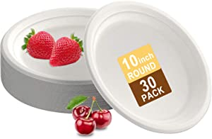 Compostable 10 Inch Round Heavy-Duty Paper Plate, Natural Disposable Bagasse Plate, Eco-Friendly Made of Sugarcane Fibers, Plates Papers For Cake Dessert Fruits Snacks Food [30-Pack]
