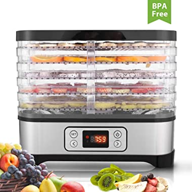 Food Dehydrator Machine, BPA Free Drying System With Nesting Tray - For Beef Jerky Preserving Wild Food and Fruit Vegetable Dryer in Home Kitchen (LD/ 5-Tray)