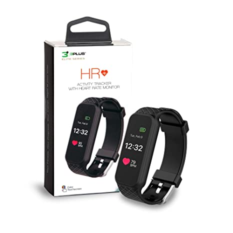 Amazon.com : 3Plus HR Activity Tracker Water Resistant with Heart Rate Monitor, Calorie Counter, Pedometer for Android & iOS in Black : Sports & Outdoors