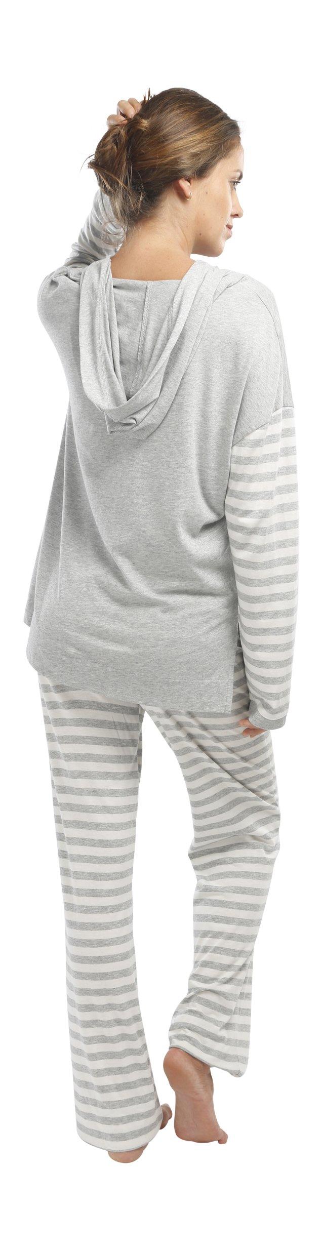jijamas Incredibly Soft Pima Cotton Women's Pajama Set ''The Hoodie Set'' In Heather Grey by jijamas (Image #6)