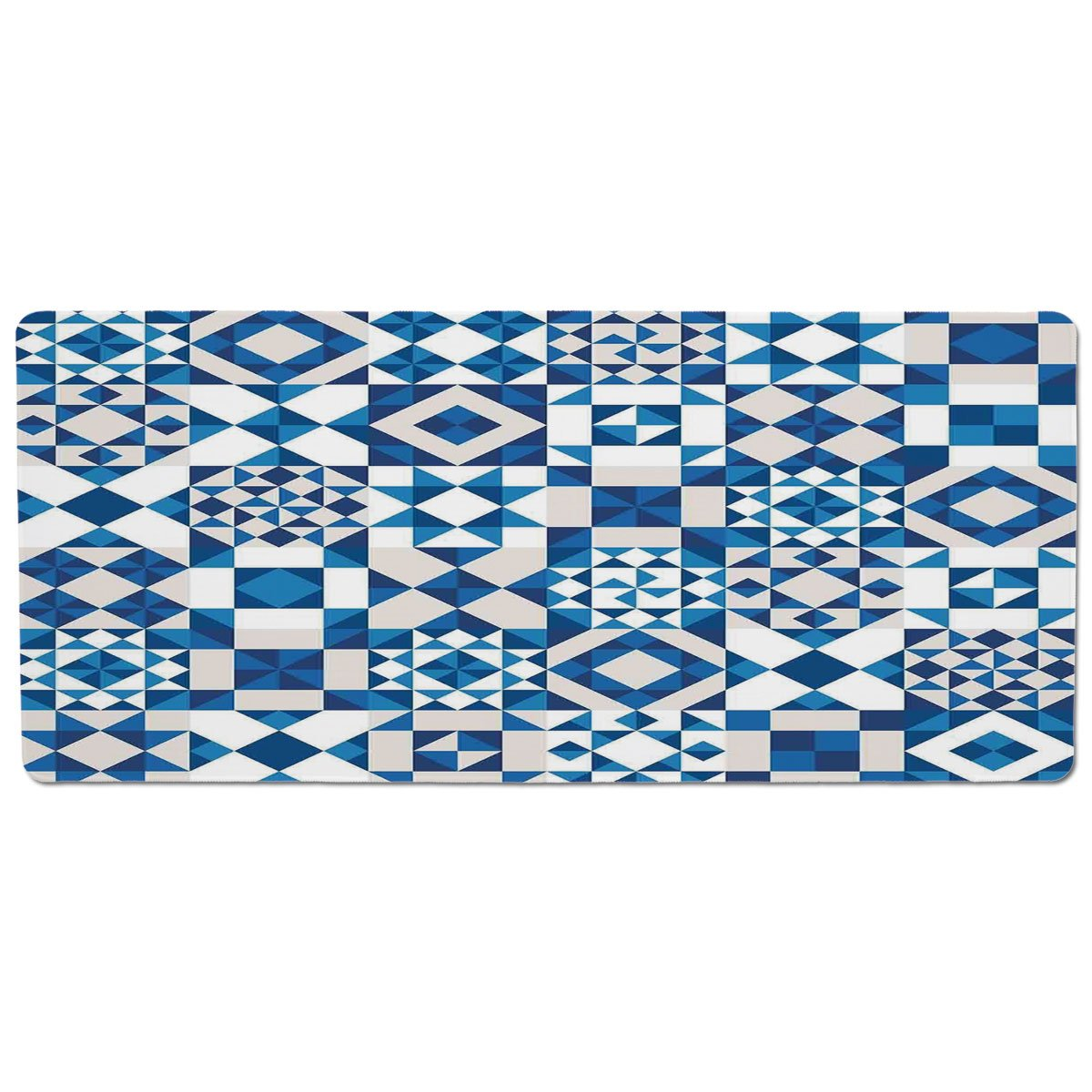 35.4\ iPrint Pet Mat for Food and Water,Navy bluee Decor,Abstract Geometric Potugal Style Ceramic Texture and Unusual Mosaic Patterns Artprint,White bluee,Rectangle Non-Slip Rubber Mat for Dogs and Cats