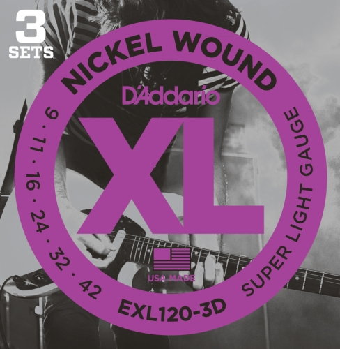 D'Addario EXL120-3D Nickel Wound Electric Guitar Strings, Super Light, 9-42, 3 Sets (09 Center)