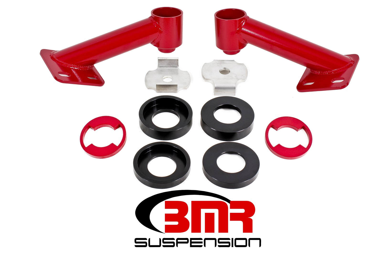 BMR Suspension CB005R - Cradle Bushing Lockout Kit, Level 2 - 2015-2017 S550 Mustang (Red)
