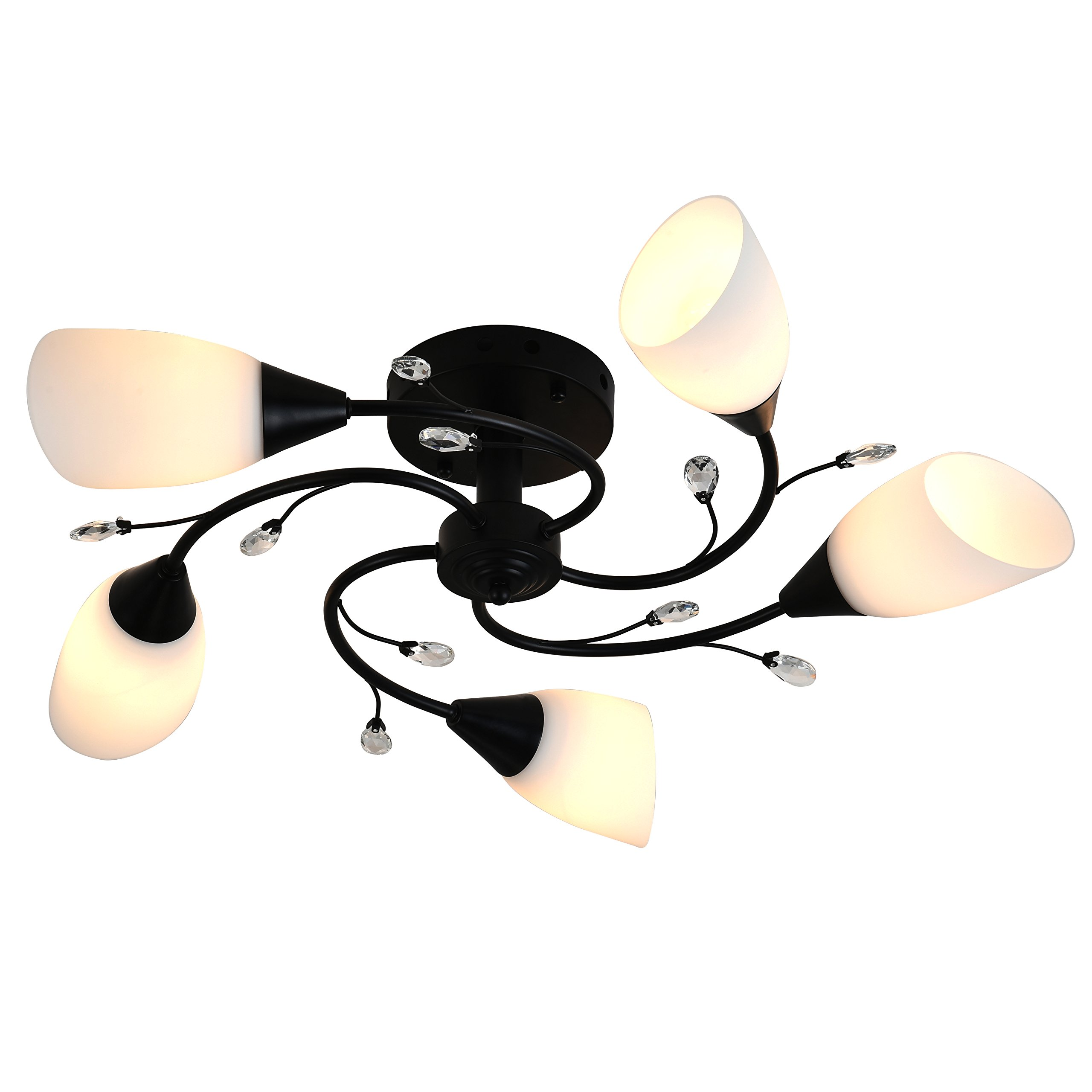 Semi Flush Mount Ceiling Light Fixture - FINXIN FXCL22 Modern Black Painting Pendant Light for Bedroom,Hallway,Kitchen and Dining Room