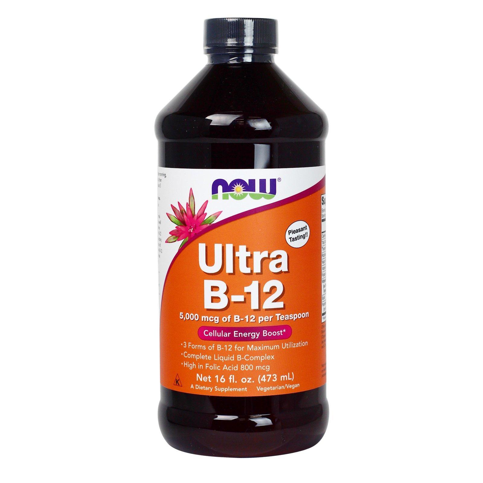 NOW Foods - Ultra B-12 Liquid Cellular Energy Boost 5000 mcg. - 16 oz. (2-Pack)