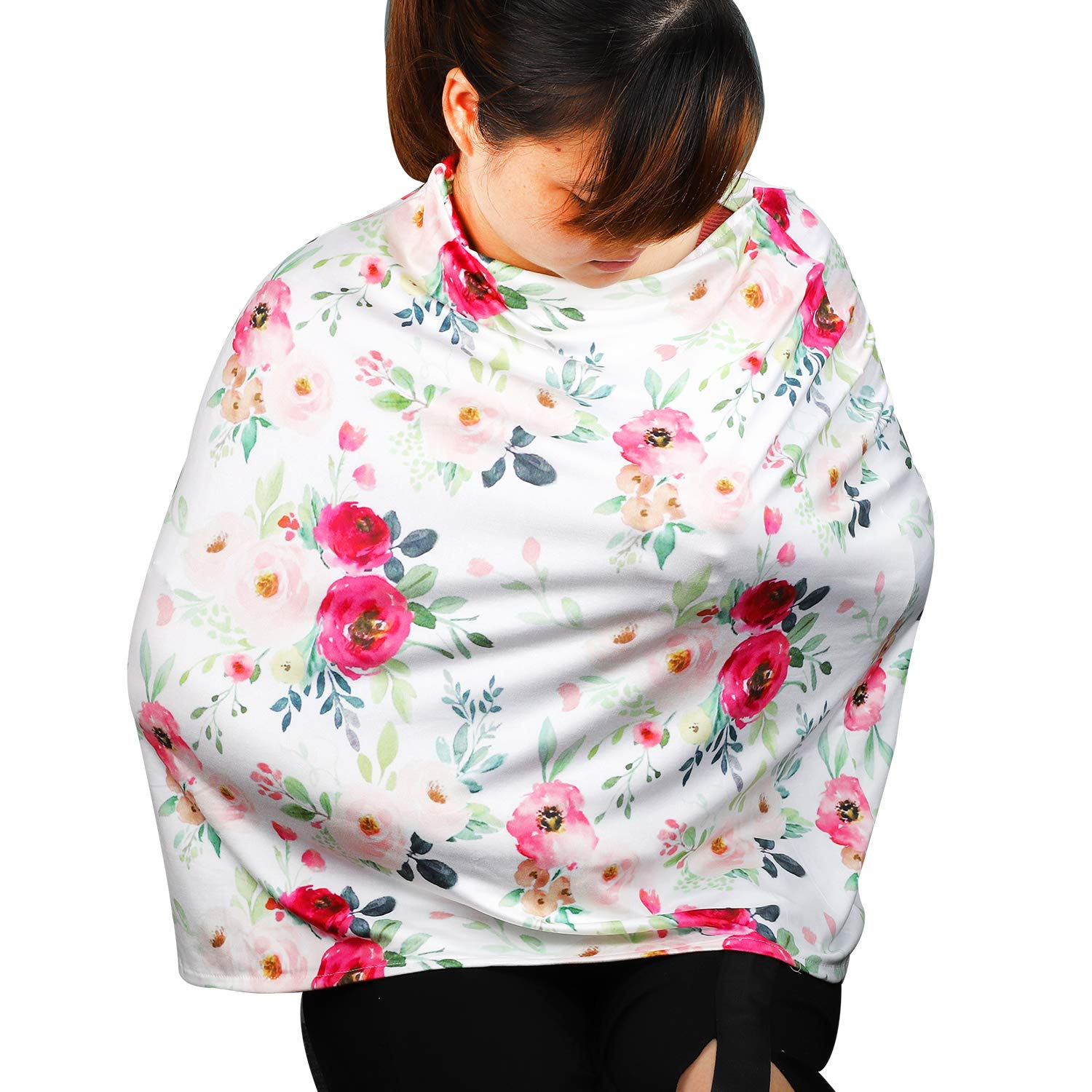 Newborn Baby Swaddle Blanket Baby Car Seat Cover Floral White Blue Breathable Cotton Mums Breastfeeding Apron Shawl Flyish Breastfeeding Cover Nursing Cover Scarf for Breastfeeding
