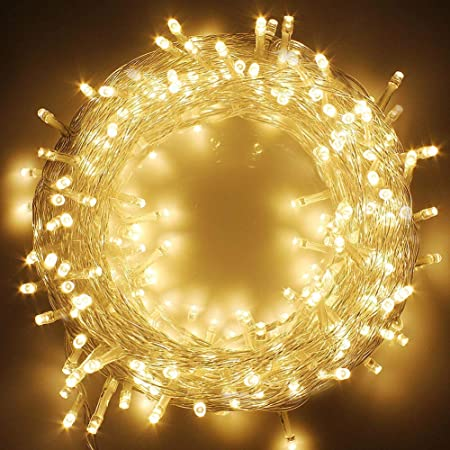 Amazon Com Twinkle Star 66ft 200 Led Indoor String Lights Warm White Plug In String Lights 8 Modes Waterproof For Outdoor Christmas Wedding Party Bedroom Home Kitchen