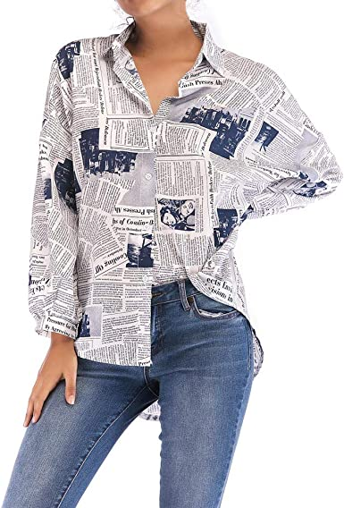 VJGOAL Camisas para Mujer Impresión de periódicos Casual Camisetas de Manga Larga en Solapa Tops de Manga Larga Blusas Otoño: Amazon.es: Ropa y accesorios