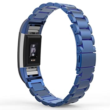 MoKo Fitbit Charge 2 Correa - Universal Acero Inoxidable Watch Band de Reloj Strap Bracelete +