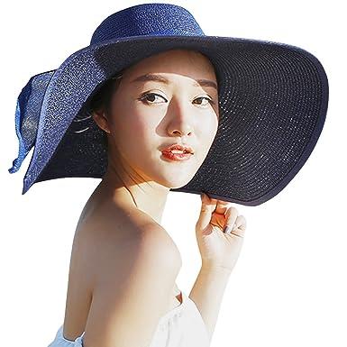 50ac622feb400 Frmarche Chapeau De Soleil Chapeau de Paille Femme Capeline Plage Casquette  Été Anti-UV Bord Large Pliable pour Voyage Vacances (Bleu): Amazon.fr:  Vêtements ...