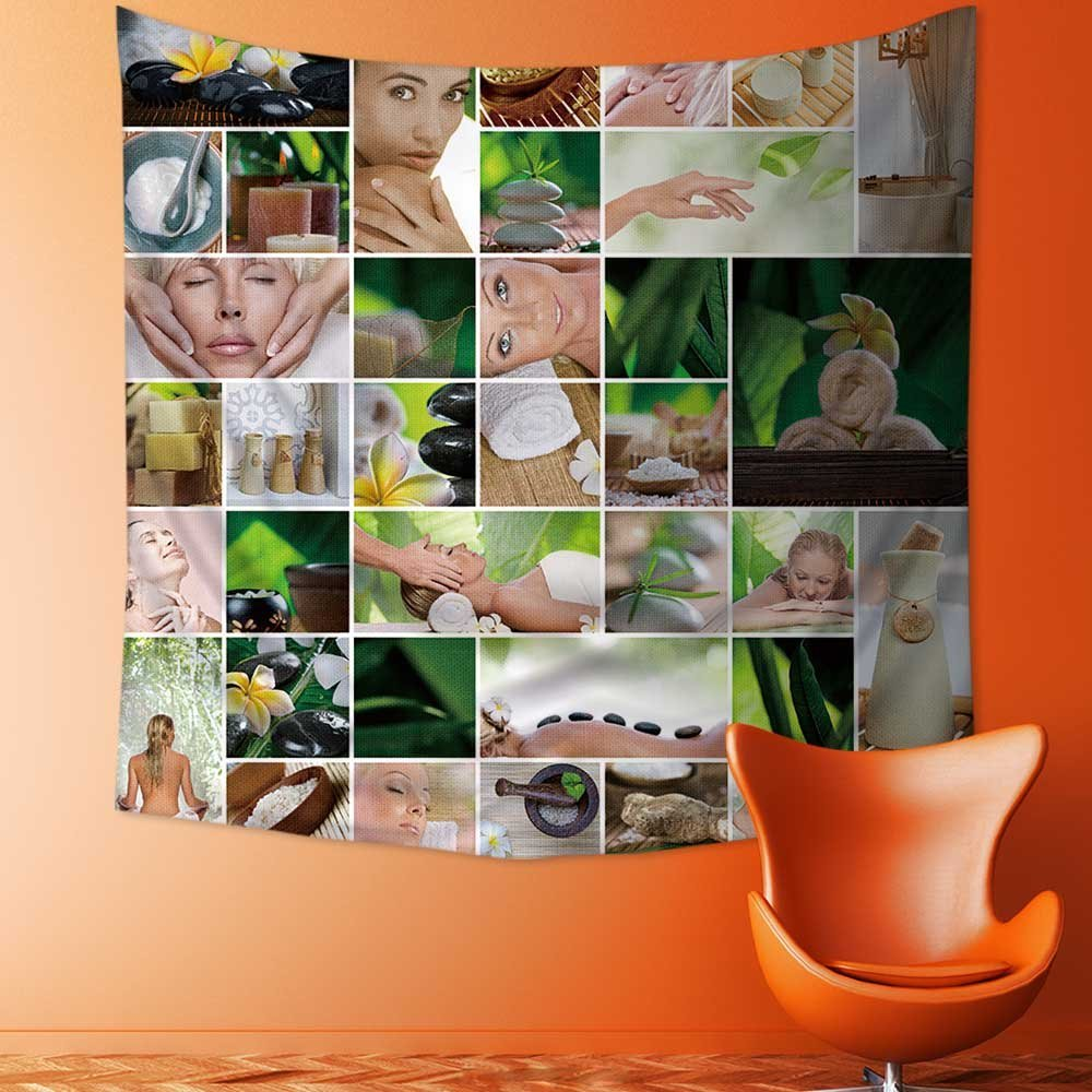 SOCOMIMI Wall Tapestry Spa theme photo collage composed of different images Room Dorm Accessories Wall Hanging Tapestry/27.5W x 27.5L INCH