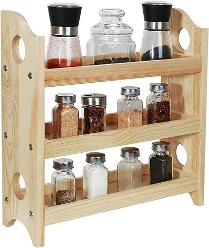 NEX 3-Tier Wood Spice Rack Organizer, Diversified Countertop 2-Tier Cabinet Organizer Spice Shelf, Countertop Use, Prefect for Organizing Spice, Cosmetics, Perfume