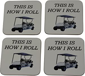 Funny Golf Drink Coaster Set Gift For Golfer Dad Grandpa This is How I Roll Golf Cart Home Kitchen Bar Barware