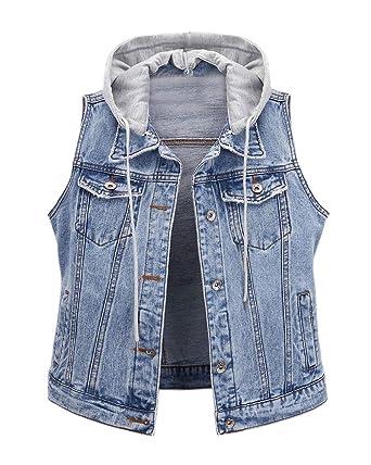 veste femme jean sans manche