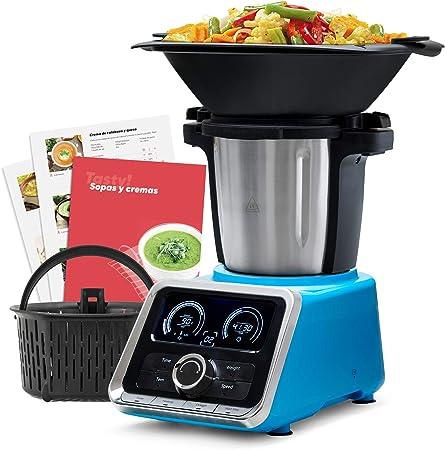 Mellerware Robot de Cocina Multifunción Tasty! Capacidad 2.5 L Temperatura hasta 120ºC. 13 velocidades Incluye Recetario +200 Recetas, balanza incorporada Jarra Apta Lavavajillas. Color Azul.: Amazon.es: Hogar