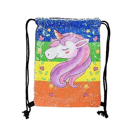 BESTOYARD Unicornio Pintura Bolsa de Cordón Lentejuelas Sirena Mochila Bolsa de Hombro Mochila para Mujer Niños