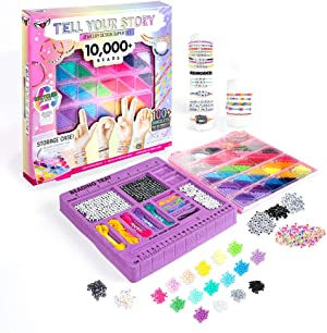 Fashion Angels Tell Your Story 10,000+ Bead Super Set (12580), Includes Bead Tray and Keeper Case, Alphabet Beads, Metallic Beads, Screen-Free Activity, Includes Inspiration Guide and Instructions