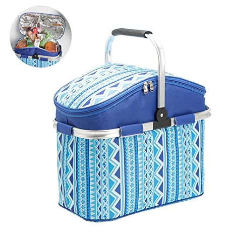 Aolvo Collapsible Cooler, Folding Picnic Basket Large Insulated Grocery Bag 27 Liter Insulated Tote Bag for Grocery, Camping Travel Blue