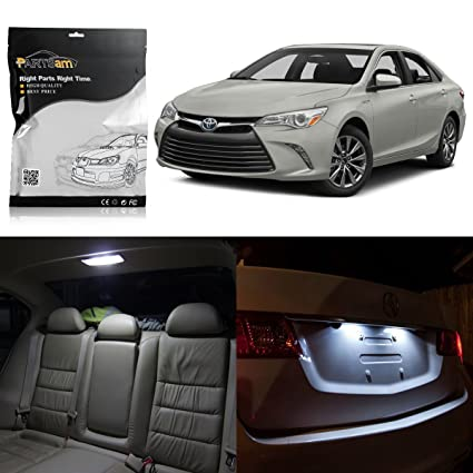 Partsam 14pcs White LED Package For Toyota Camry 2007 2016 Interior +  License Plate Lights