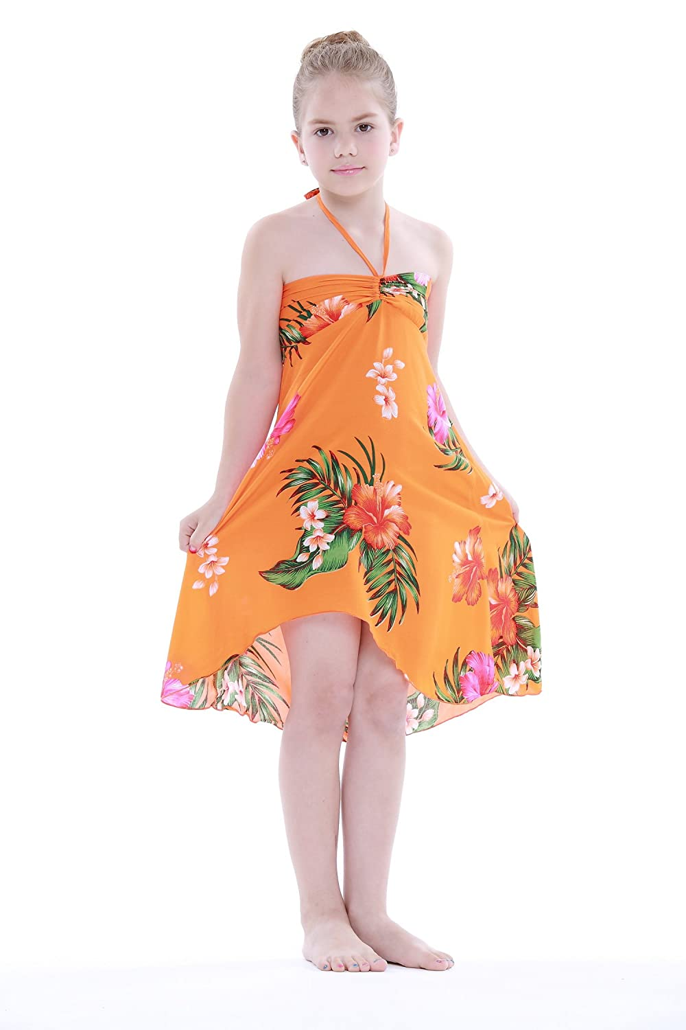 Girl Hawaiian Butterfly Dress in Hibiscus Floral Orange
