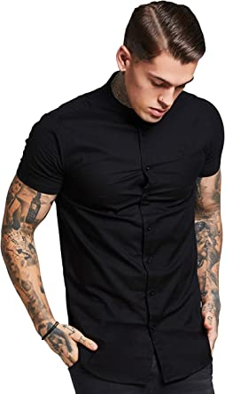 Camisa Manga Corta Siksilk – Grandad Collar Jersey Sleeve Fitted Negro Talla: XL (X-Large): Amazon.es: Ropa y accesorios