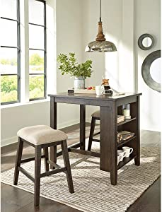 Signature Design by Ashley Rokane Counter Height Dining Room Table and Bar Stools (Set of 3), Light Brown