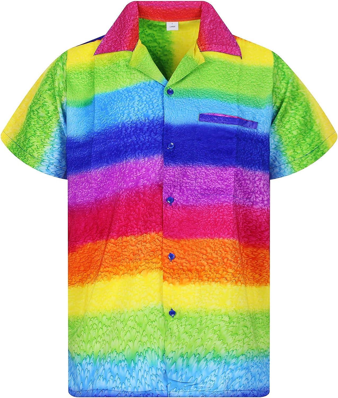 VHO Funky Hawaiian Shirt for Men Short Sleeve Front-Pocket Rainbow Horizontal, Multicoloured