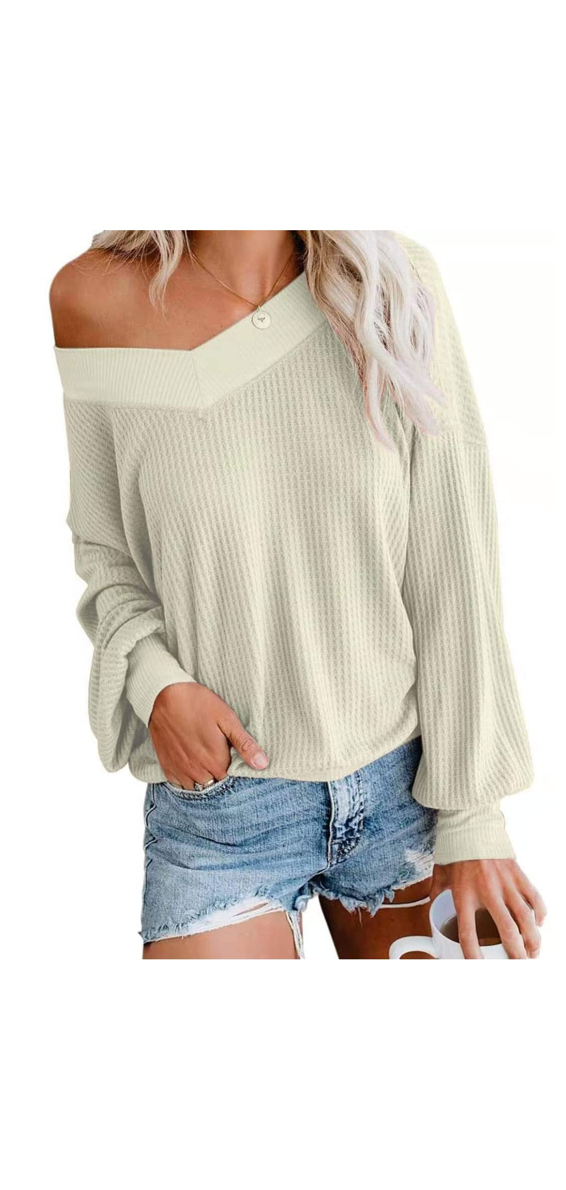 Womens V Nack Off The Shoulder Sweaters Fall Winter