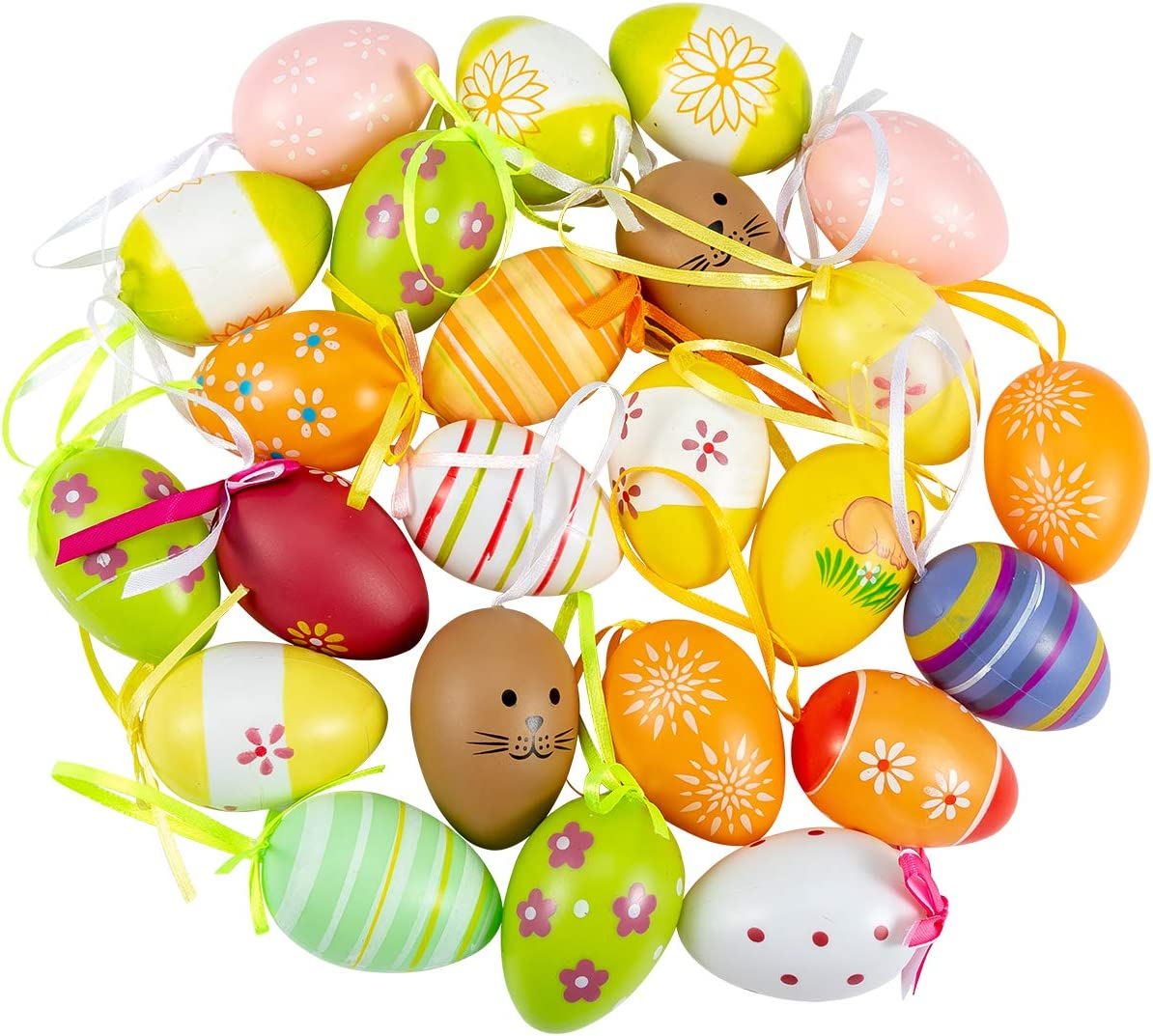 ANPHSIN 24 Pcs Multicolored Plastic Easter Egg Hanging Ornament- 2.3