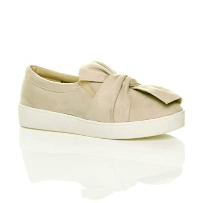 e3bfd14948c0c Ajvani Womens Ladies Flat Bow Knot Slip on Casual Plimsoles Trainers Pumps Size  3 36 Beige