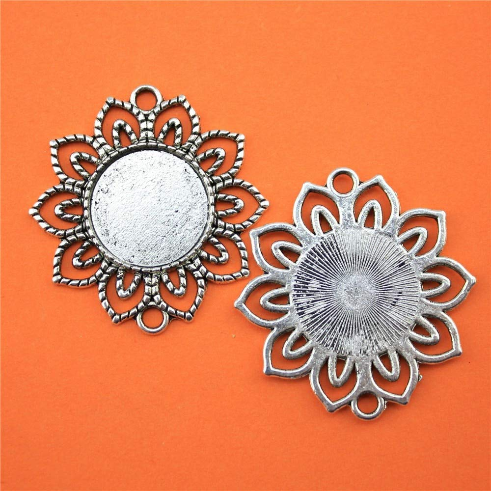 WYSIWYG 10 Pieces Cabochon Cameo Base Tray Bezel Blank Diy Jewelry Findings Flower Connector Single Side Double Hanging Inner Size 18mm Round flatback resin cabochons