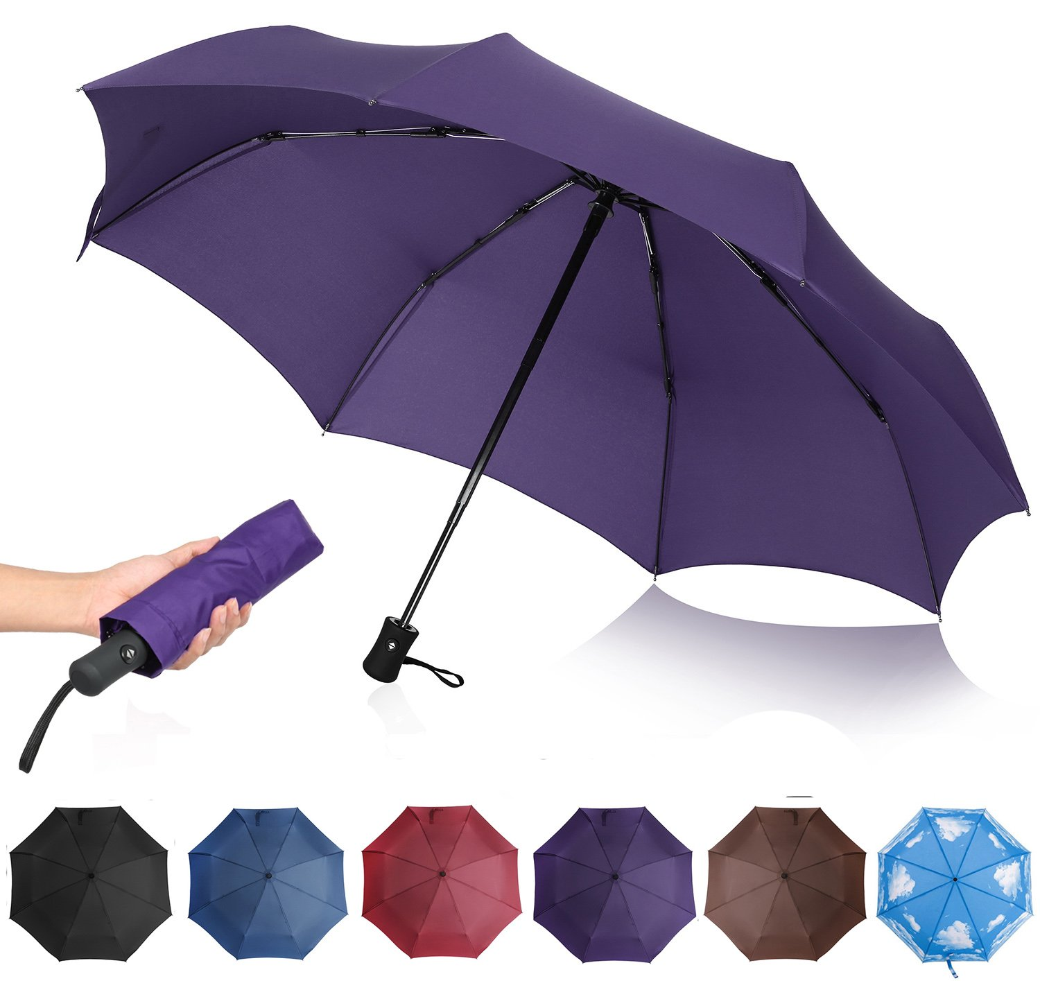 QHUMO Compact Travel Umbrella Windproof, Auto Open Close Umbrellas for Women Men by QHUMO (Image #1)