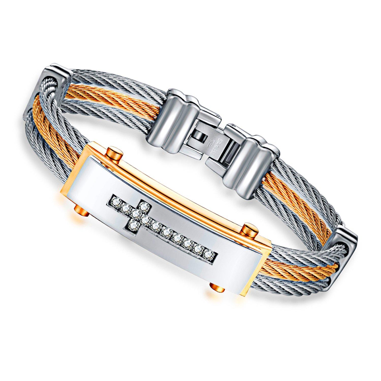 Kalen Stainless Steel Cubic Zirconia Cross Twisted Rope Bangle Bracelet