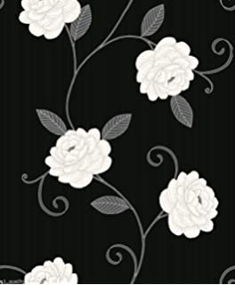 Fd20336 classics floral acanthus floral flowers silver black new black and cream flower wallpaper mightylinksfo