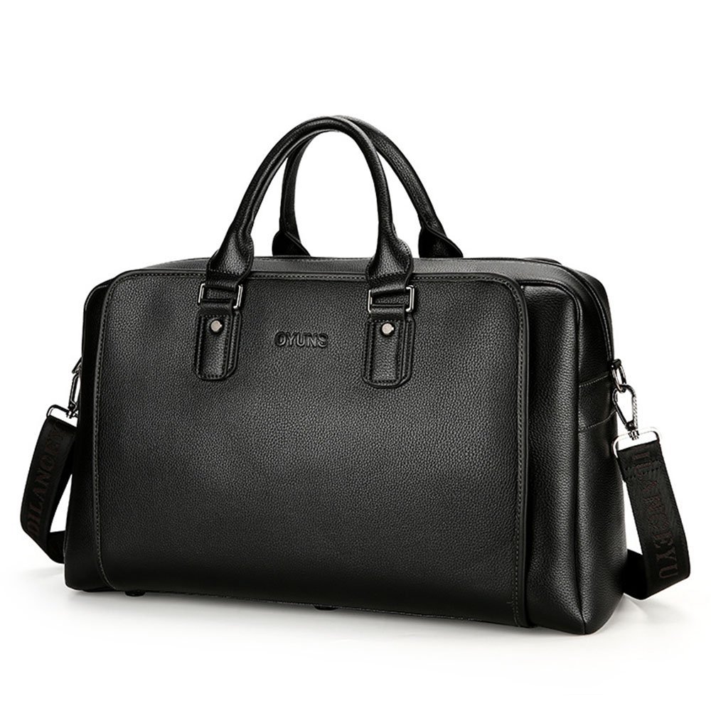 Amyannie Bag for Travel Men Imitation Leather High Capacity Handbag Business Travel Bag Briefcase Short Trips Luggage Travel Bag Color : Black