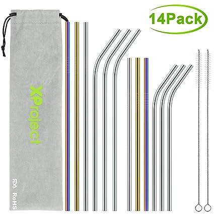 XProject Set de 12 Pajitas de acero inoxidable-reutilizables de metal-Ecológico-Apto para lavavajillas-2 cepillos de limpieza-6 puntas de ...