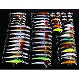 Hengjia Lot de 56appâts de pêche de différents types méné, poissons nageurs, articles de pêche, avec hameçon, 7modèles, 1,6-9,1g