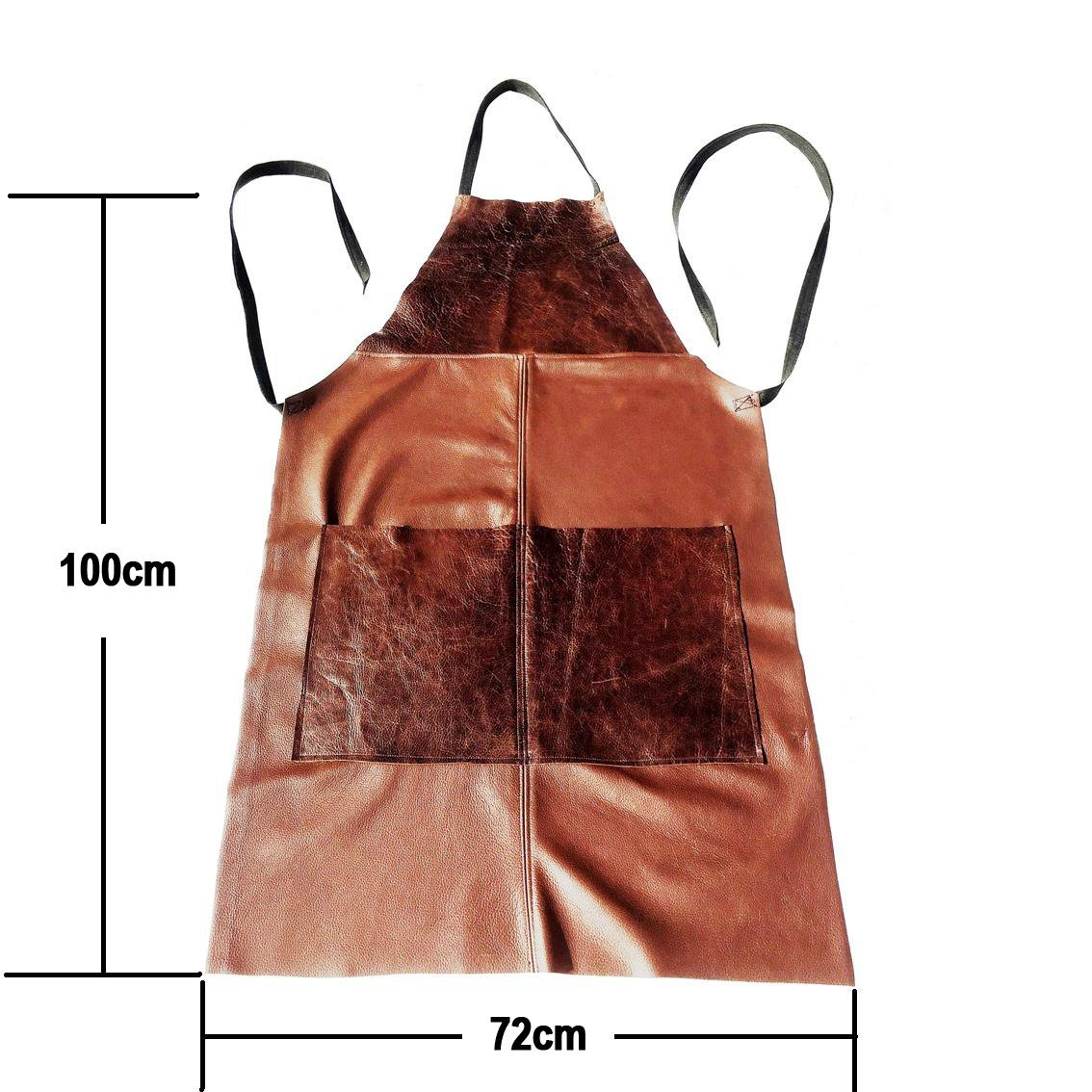 100cm x 72cm Large Full Length Workwear Apron in Patchwork Brown Leather