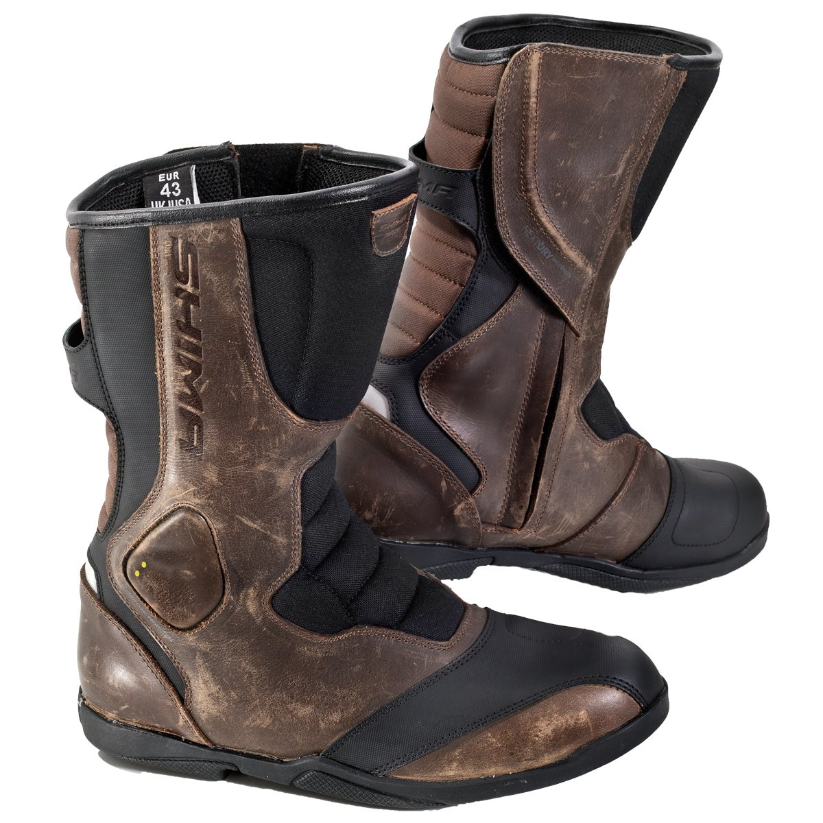 SHIMA STRADA VINTAGE, Classic Retro Sport Leather Motorcycle Boots (43, Brown) by SHIMA