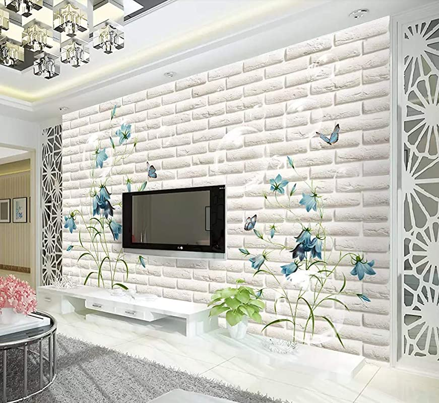 Muraviewall 3D Silver Background Silver Diamond Flower Wallpaper High-End Luxury Jewelry Background Wall Hotel Living Room Tv Sofa Mural Children Bedroom Peel and Stick I Custom Size