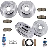 Detroit Axle - All (4) Front Brake Kit Rotors and Rear Brake Kit Drums w/Ceramic Pads and Shoes & Brake Kit Cleaner…