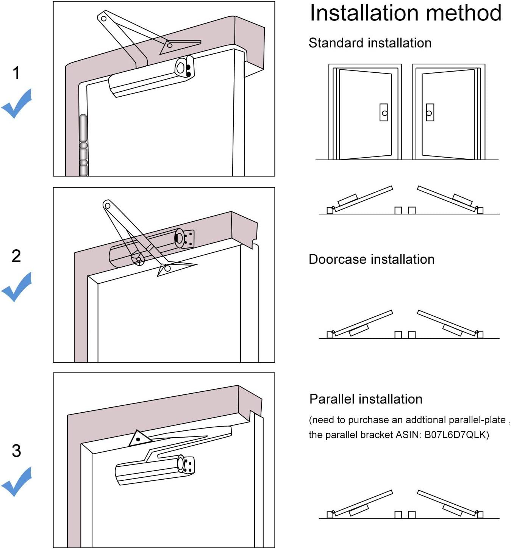 Onarway cierre de puerta hidráulico automático con resorte ajustable, aleación de aluminio, para uso residencial y comercial con plantilla de ajuste, para puerta de peso medio: Amazon.es: Bricolaje y herramientas