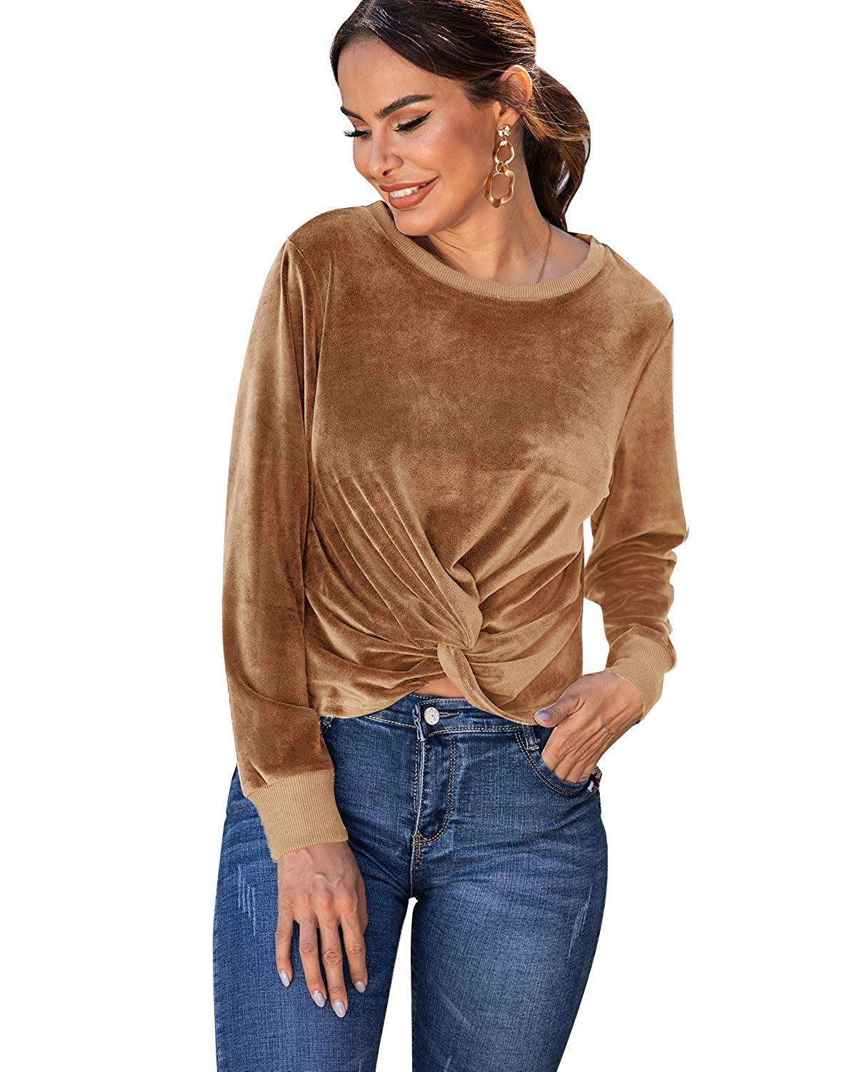 LANISEN Womens Long Sleeve Velvet T Shirts Casual Crew Neck Twist Knot Solid Blouses Tops