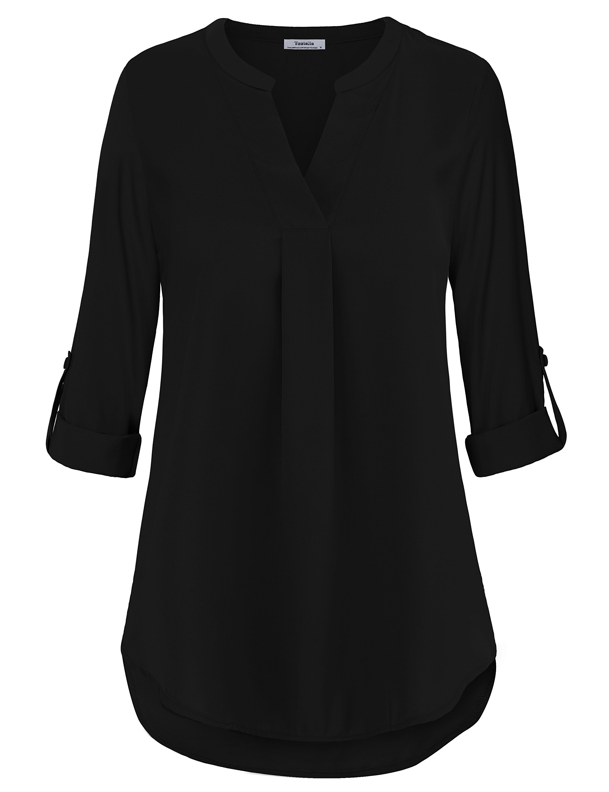 Casual Tunic Shirt,Business Casual Tops for Women Loft Clothing Pleated Front Swing Flowy Tops Prime Dressy Designer Fall Clothing Black,XL