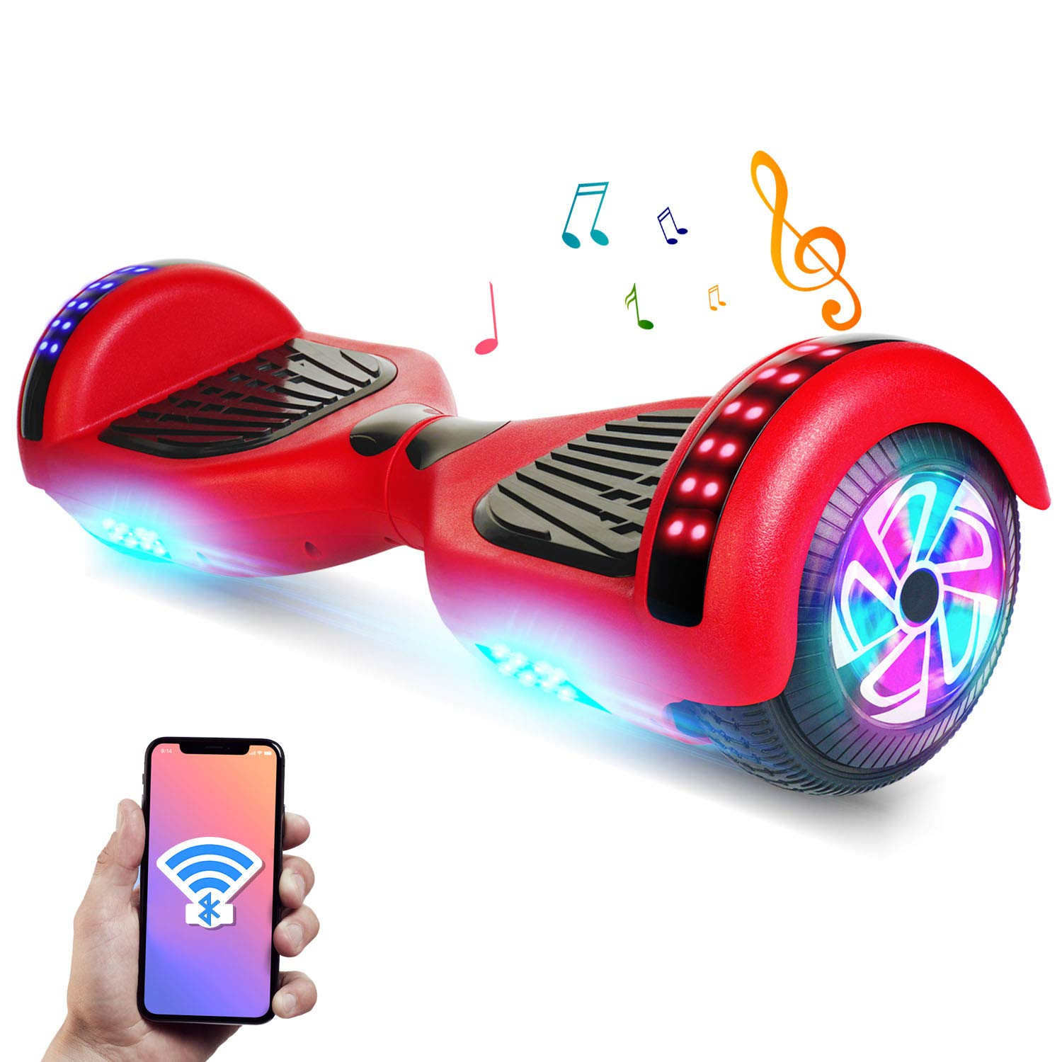 YHR 6.5'' Hoverboard -Self Balancing Scooter 2 Wheel Electric Scooter - UL Certified 2272 Bluetooth W/Speaker, LED Wheels and LED Lights (Red)