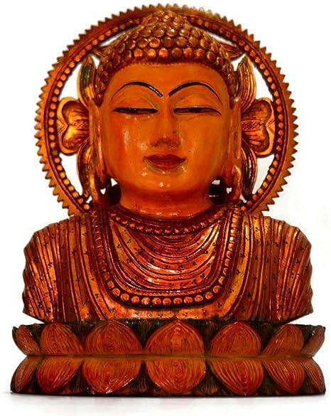 Buddhas Buddha Statue Holz Figur BUDDHA KOPF geschnitzt 10 x 5,5 cm Indien neu
