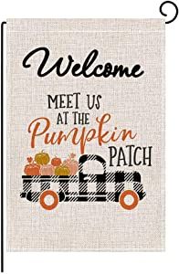 ValueVinylArt Fall Garden Flag, Double Sided Autumn Pumpkin Buffalo Check Truck Burlap Flag Thanksgiving Day Flag for House Yard Decoration Outdoor Decor 12.5 x 18 Inch