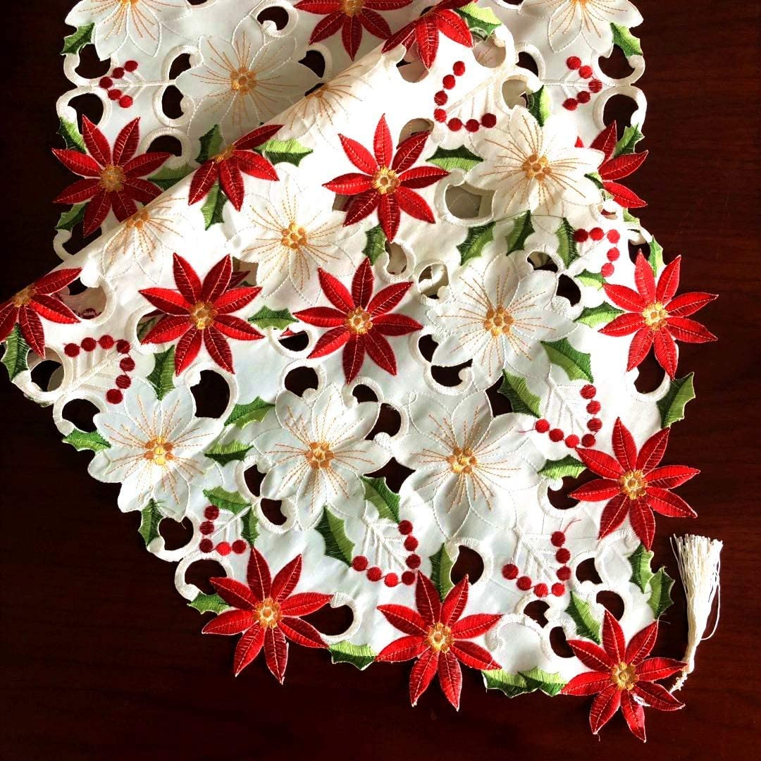 boyspringg Christmas Table Runners Poinsettia Embroidered with Tassels Holly Leaf Table Linens Country Style New Year Present Wedding Christmas Decorations Decor 15 x 69 Inch