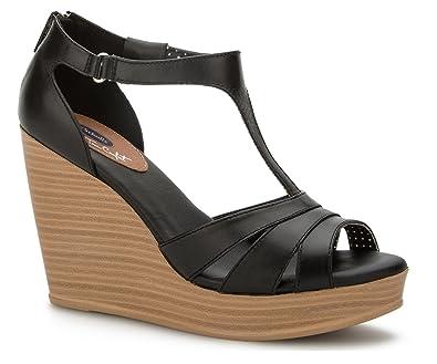 True Comfort T-Bar Women's Wedges Sandals Platform Ankle Strap Leather & Memory Foam