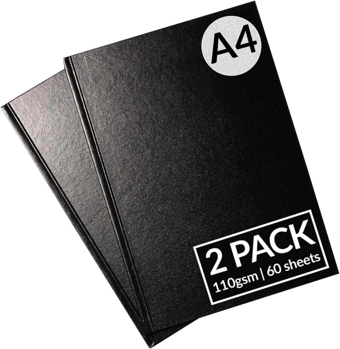 60 Perforated Sheets A4 Sketchbook A4 Portrait Size A4 Hardback Bound Sketchbook Sketch Drawing Book with Hardback Cover Acid Free White Cartridge Paper by Artistik Pack of 2 110 GSM